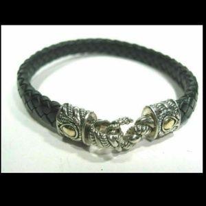 JAI John Hardy Silver 14K Gold Leather Bracelet